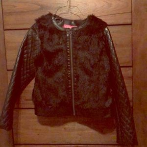 Black jacket, with leather and fur!